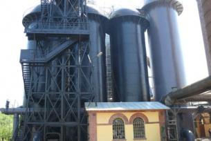 """Nagrzewnice Cowper""""a, winda gichtowa i budynek maszynowni windy"""